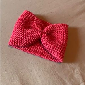 Handmade toddler sized pink knitted headband